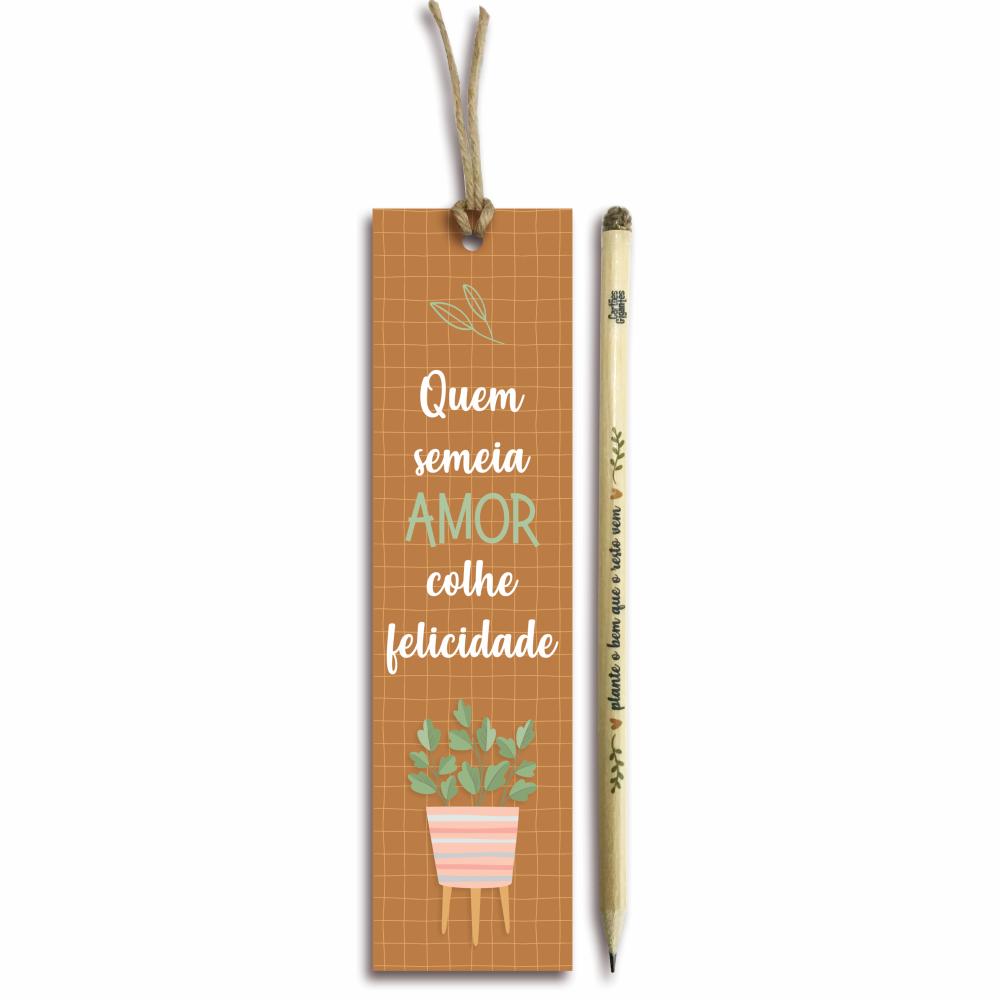 Marcador de página com lápis semente